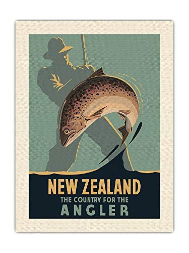 Pacifica Island Art Nueva Zelanda - El país del Pescador - Pesca con Mosca - Póster Viajes de Leonard C. Mitchell c.1950 - Impresión de Arte de Lienzo ORGÁNICO Crudo 61x81cm