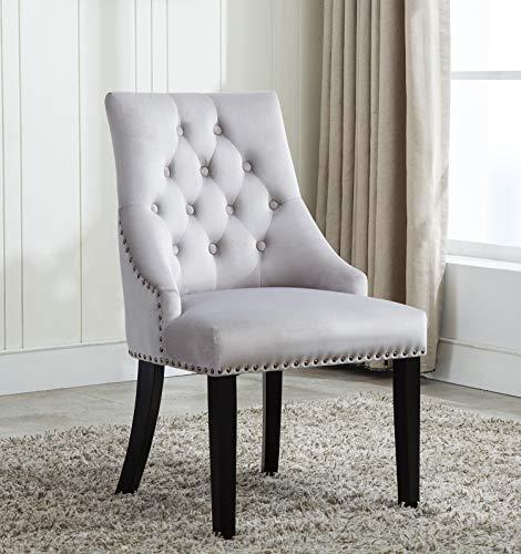 MCC® Relax Design Stuhl Victoria mit Ring, samtigem Bezug und dekorativen Nieten, in 4 angesagten Farben (Hellgrau)