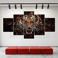5枚のパネルタイガーアニマルウォールアートキャンバス絵画は、リビングルーム、ベッドルーム用モジュラー写真Customsized写真を印刷します (Size : 10x15 10x20 10x25cm)