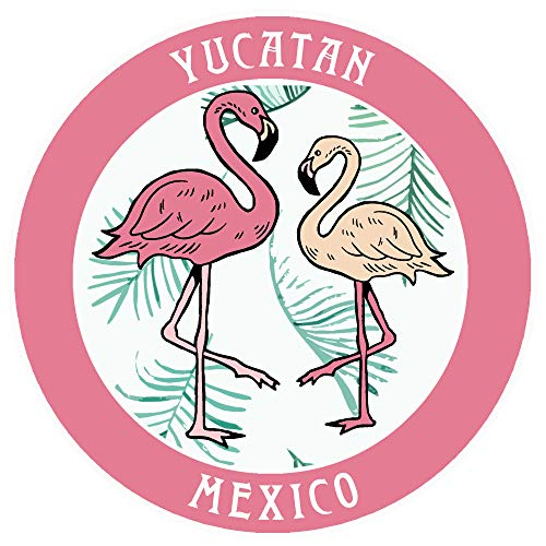 Yucatan, Mexico Two Flamingos Decorative Car Truck Window Sticker Decal Vinyl Die-Cut Badge Emblem Vacation Souvenir Travel Gear