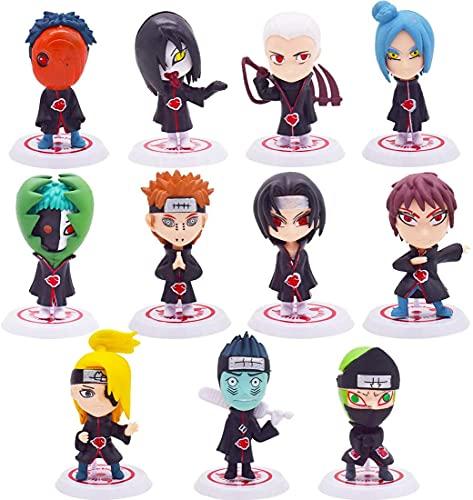 Juego de Minifiguras de Naruto,BESTZY 11Piezas Cake Topper Acción Figuras Modelo Muñecas Mini Muñeca de Naruto,Niños Baby Shower Fiesta de cumpleaños Pastel Decoración Suministros