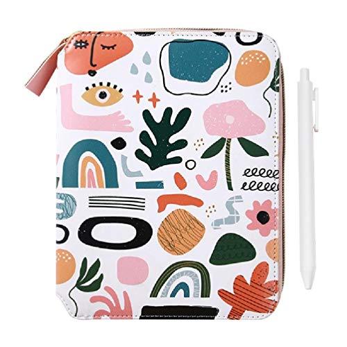 Cuaderno de diario de flores B6 con cierre de cremallera, cuaderno de tapa dura con juego de bolígrafos, agenda de piel para diario