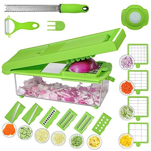 Annbrist Gemüseschneider Obstschneider -22 IN 1 Verstellbarer Mandoline Gemüseschneider Kartoffelschneider Zwiebelschneider Obstschneider für Zwiebeln, Kartoffeln, Zucchini, Gurken