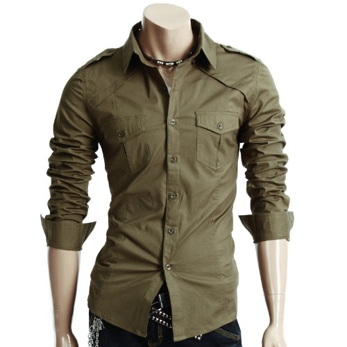 Doublju Mens Dress Shirt with Epaulet KHAKI (US-S)