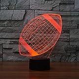 lampe de table 3D en forme comme un ballon de rugby nuit LED lumière à la mode sur le thème le football change 7 couleurs acryliques à base plate et un chargeur USB idée cadeau de Noël