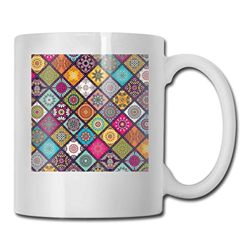 haoqianyanbaihuodian Mandala Hippie Bohemia Boho Étnico Patrón Novedad Impresión Copa Cerámica Código 330ml
