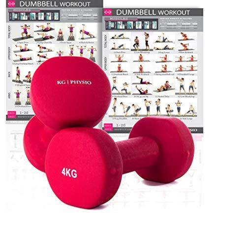 KG Physio Pesi Palestra in Casa Fitness e Palestra Manubri e Pesi Fitness Pesi per Palestra Manubrio (Set di 2) 1-10kg Poster di Allenamento Incluso (4kg)