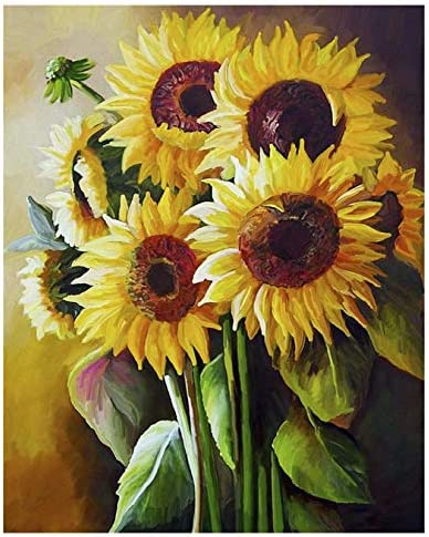 Sunflower Painting by Numbers for Adults DIY Oil Painting Kits Geboor Paint by Number Kit on product image