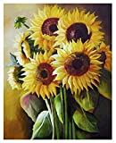 Sunflower Painting by Numbers for Adults DIY Oil Painting Kits, Geboor Paint by Number Kit on Canvas for Home Wall Decor 16inchx20inch Without Frame