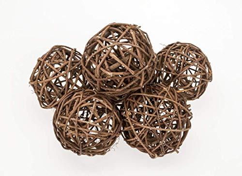NaDeco Brunch Ball Natur 8cm 6 Stück Rankenkugel Rebenkugel Dekokugel Dekobälle Weidenkugel Weidenbälle Naturkugel