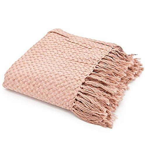 Maison ESTO Vintage Tagesdecke 170 x 130 cm Baumwolle Decke Wolldecke Sofadecke Fransen (rosa)