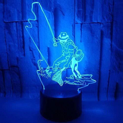 Nachtlampje 3D Visual Fishing LED Nachtlampje 7 kleuren Home Tafel Party Bar Decor Lamp Jongens mannen kinderen geven de voorkeur aan de beste cadeaus