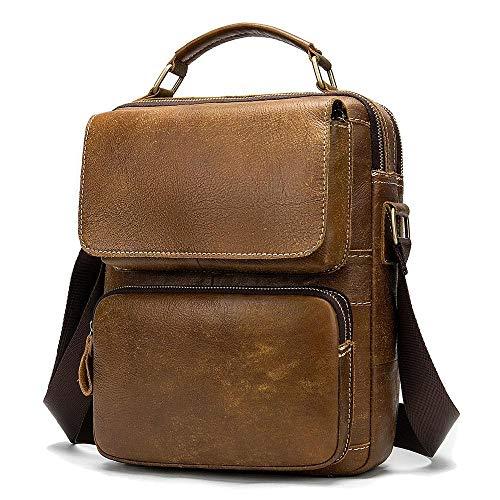Bolso Bandolera de Piel de Vacuno Retro Vertical Bolso de Mensajero con maletín de Tableta de 9,7 Pulgadas-marrón