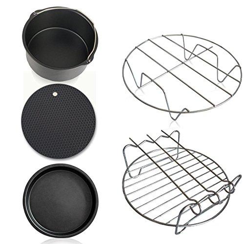 5-delige Air Fryer accessoires voor het bakken in de oven (cake barrel, pizza-pan, houder van metaal, mat van siliconen)