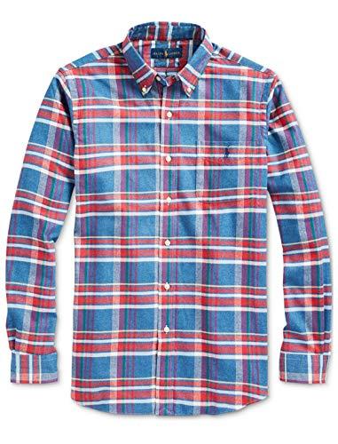 Ralph Lauren Polo Men Long Sleeve Flannel Plaid Shirt (Medium M)