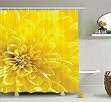 YEDL Helle lebendige blühende Sonne Blume Braut botanische Natur Bild Polyester Stoff Bad Duschvorhang gelb 180 × 180 cm