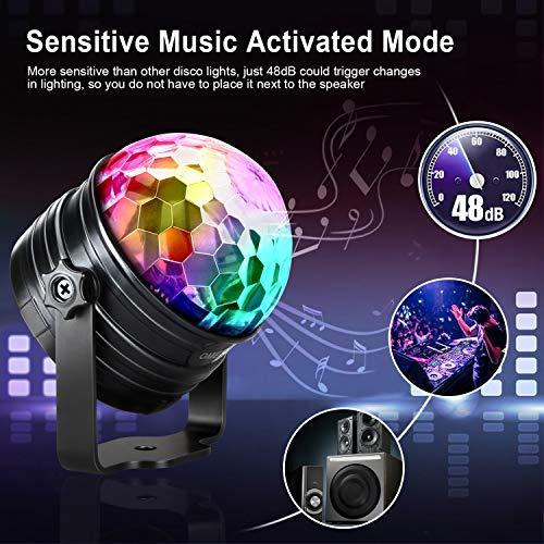 LED Discokugel Kinder OMERIL Discolicht Musikgesteuert Disco Lichteffekte RGB Partylicht, Zeitgesteuertes USB Stimmungslicht mit 7 Farben, 4 Helligkeiten und Fernbedienung für Kinder, Zimmer, Party - 3