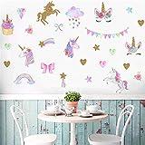 Adesivi da parete a forma di unicorno per ragazze e ragazzi camera da letto con unicorno, carta da parati colorata di grandi dimensioni bambini, decorazione per feste di Natale e compleanni