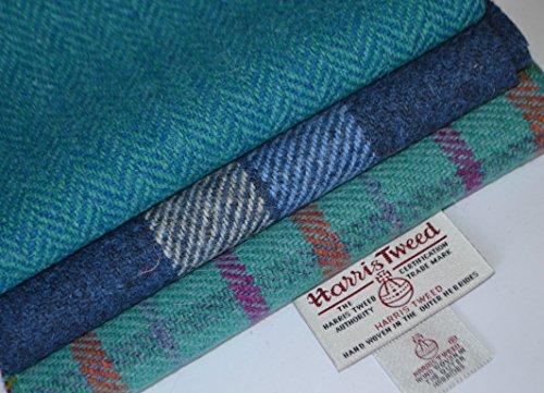 Harris Tweed Stoff, 100% reine Schurwolle, Handarbeitsset (Mix 6), 36/25cm