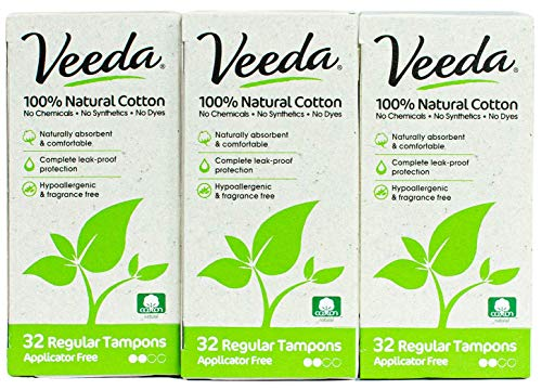 Veeda 100% Natural Cotton Applicator Free Regular Tampons, Chlorine and Toxin Free, Unscented, 3 Packs of 32 Count Each
