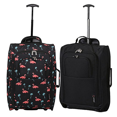 Set of 2 Super Lightweight Cabin Approved Luggage Travel Wheely Suitcase Wheeled Bags Bag (Black Flamingos + Black)