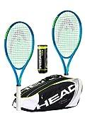 HEAD Ti Conquest Lot de 2 raquettes de tennis avec sac de tennis Head Djokovic et 3 balles de tennis Head Team