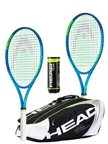 HEAD Ti Conquest - Juego de raqueta de tenis (2 unidades, incluye bolsa de tenis HEAD Djokovic y 3 pelotas de tenis para equipo