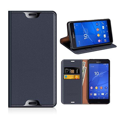 MOBESV Portefeuille Sony Xperia Z3 Compact, Coque Cuir Sony Xperia Z3 Compact Étui Housse Cover de Protection avec Porte Cartes La Fonction Stand pour Sony Xperia Z3 Compact - Bleu Fonce
