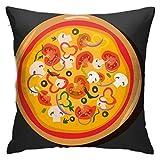 Hot Pizza Icon Pepperoni Pizza Funda de almohada Decoración para el hogar Funda de almohada Dormitorio Decorativo Throw Cafe Para Living Sofas Cuadrado 45 x 45 cm