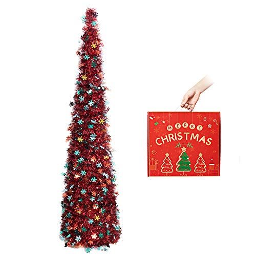 N&T NIETING Christmas Tree, 5ft Collapsible Pop Up Red Tinsel Christmas Tree with Silver Colourful Snowflake for Christmas, Party Supplies, Home Display, Office, Fireplace Indoor Decoration