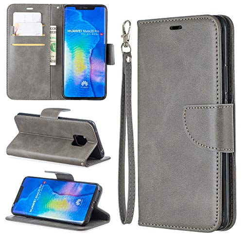 FEYYXI Handyhülle für [Huawei Mate 20 Pro] Hülle Leder Schutzhülle Brieftasche mit Kartenfach Stoßfest Handyhülle Case für Huawei Mate20 Pro - FEBF30404 Grau