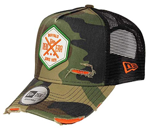 New Era A Frame Adjustable Trucker Cap Distressed Hex Patch Camouflage - One-Size