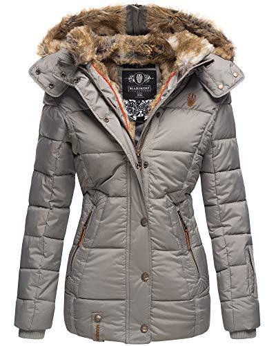 Marikoo Damen Winter Jacke Stepp Jacke Kunst-Fellkragen Warm gefüttert NKO167 (XX-Large, Grau)