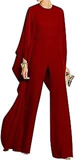 Women's Long Sleeves Jumpsuit Elegant Wide Leg Bat Sleeve Romper Flowy Outfit