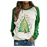 callm Women Christmas Tree Mouse Cat Star Print Stitching Contrast Top Sweater Pullover(ca1832)