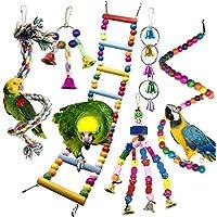 Juguetes para Pájaros, PietyPet 6 Piezas Pájaros Juguetes con Campanas, Escalera de madera, Colorido Columpio Juguetes, Hamaca de Madera, Que cuelga la Perca Juguete para Pájaros, Loros