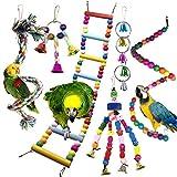 Juguetes para Pájaros, PietyPet 6 Piezas Pájaros Juguetes con Campanas, Escalera de...
