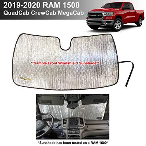 YelloPro Custom Fit Automotive Reflective Windshield Sunshade UV Reflector for 2019 2020 Dodge RAM 1500 Tradesman, Big Horn Lone Star, Laramie Longhorn Sport Rebel Limited QuadCab CrewCab MegaCab