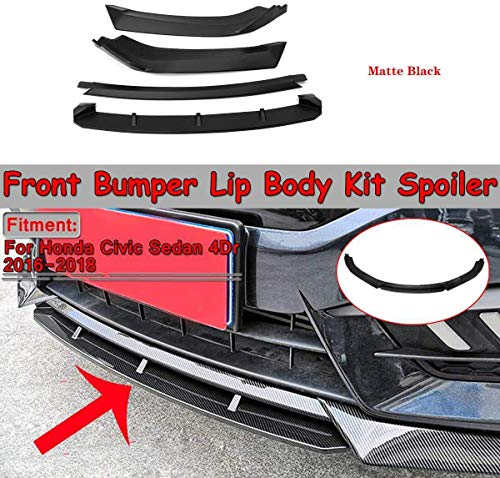 QTCD 4Pcs Car Front Bumper Lip Distributor Diffuser Lip Body Spoiler Bumper Protection for Honda Civic Sedan 4Dr 2016-2018, Matte Black, Matte Black