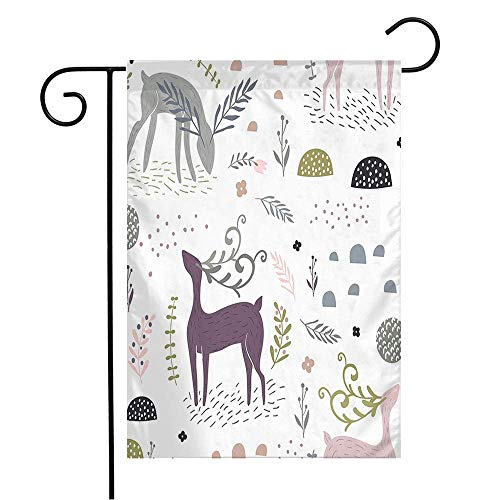 TBTUA Garden Flag Yard Decorations New Pattern Dear Deers Floral Mushroom Fairy Wood Elements Year Branches Animals Wildlife Textures Outdoor Small Polyester Flag Double Sided 12' x 18'