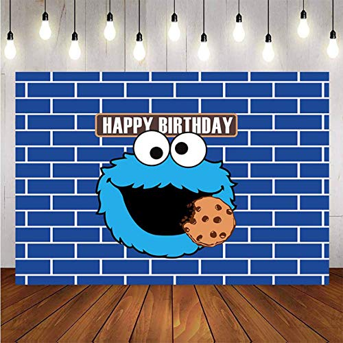 Sesame Street Cookie Monster Theme Photography Backdrop for KidsCartoon Cookie Backdrop for Birthday Party Happy 1st Birthday Party Personalized Party Backdrop Happy Birthday Party Decor Backdrop