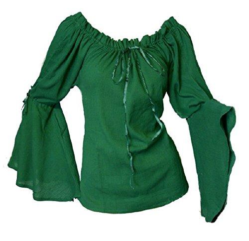 Dark Dreams Gothic Mittelalter LARP Bluse Ylenia, Farbe:grün, Größe:Freesize