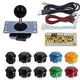 SJJX DIY Arcade Game Button and Joystick Controller Kit for Rapsberry Pi and Windows,5 Pin Joystick and 10 Push Buttons 822a Mix Black