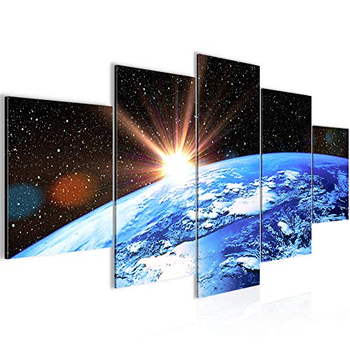 Runa Art Bilder Planet Erde Wandbild 200 x 100 cm Vlies - Leinwand Bild XXL Format Wandbilder Wohnzimmer Wohnung Deko Kunstdrucke Blau 5 Teilig - Made in Germany - Fertig Zum Aufhängen 601051a