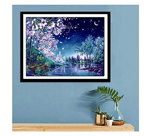 Maak je eigen mooie, romantische nachtzichtpoets muurschildering decoratief schilderwerk 60 * 45cm