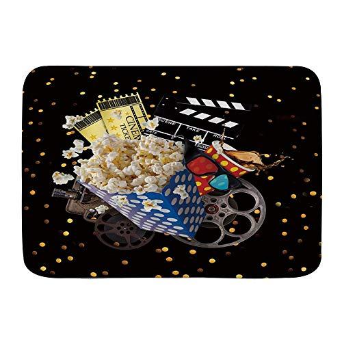 Amknu Alfombrillas para baño, Película Cinema Ticket Popcorn Cola Proyector Clap-Stick Film Gafas 3D,con Respaldo Antideslizante,29.5'X17.5'