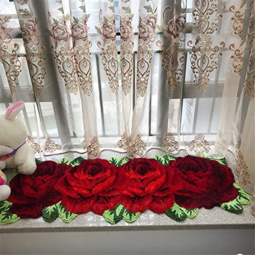 SONGHJ Alfombra De Felpa con Forma De Flor, Tapete Largo De Rosas Junto A La Cama del Dormitorio, Manta para Pies del Hogar Lavable A Mano