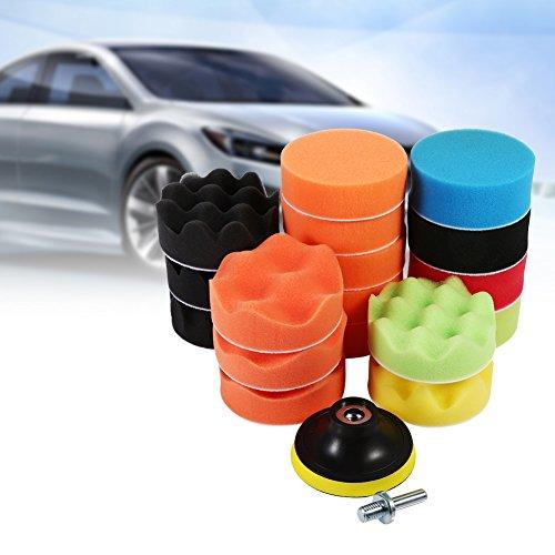 3' Sponge Buff Polishing Pad Set 19 pcs for Car Polisher Waxing Foam Buffing Kit M10 Drill Adapter