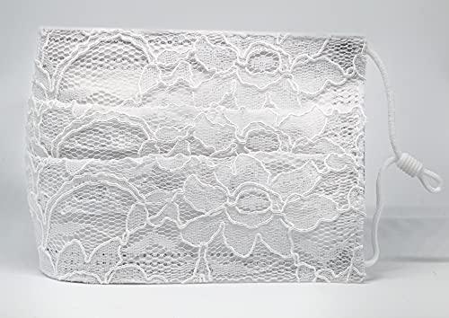 Braut Hochzeit Kommunion medizinische Mund und Nasenbedeckung weiß mit aufgenähter Spitze verstellbaren Gummibändern