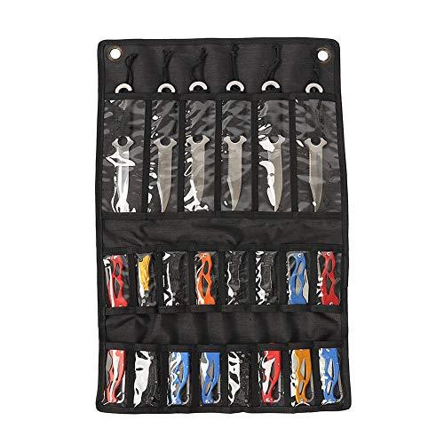 HANSHI Étui de rangement pour couteaux de poche, sac de rangement pliable pour couteaux tactiques, petit sac à couteaux avec 22 emplacements